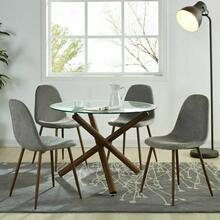 See Details - Rocca/Lyna 5pc Dining Set, Walnut/Grey