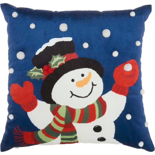 "Home for the Holiday L8528 Multicolor 18"" X 18"" Throw Pillow"