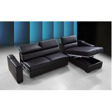See Details - Divani Casa Flip - Reversible Espresso Leather Sectional Sofa Bed with Storage