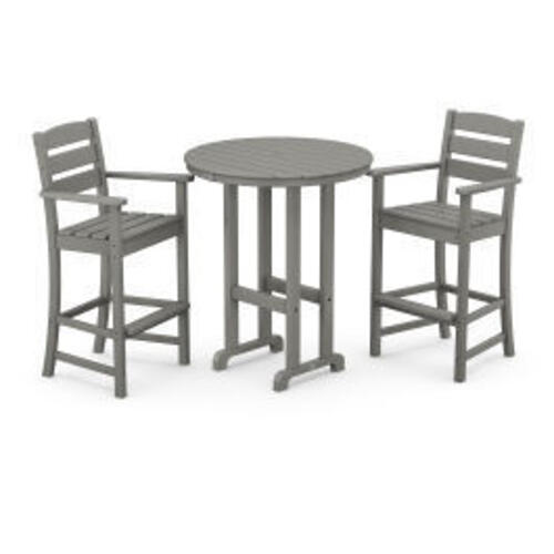 Polywood Furnishings - Lakeside 3-Piece Round Bar Arm Chair Set in Slate Grey