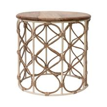"""Product Image - 17"""" Round x 16""""H Wood, Metal & Rattan Side Table/Stool"""