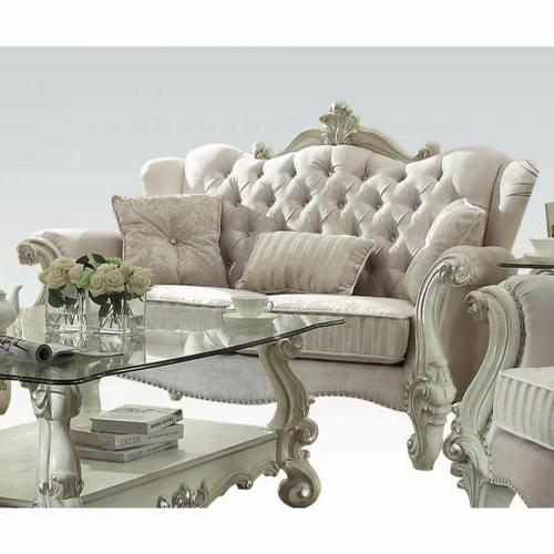 ACME Versailles Loveseat w/3 Pillows - 52106 - Ivory Velvet & Bone White