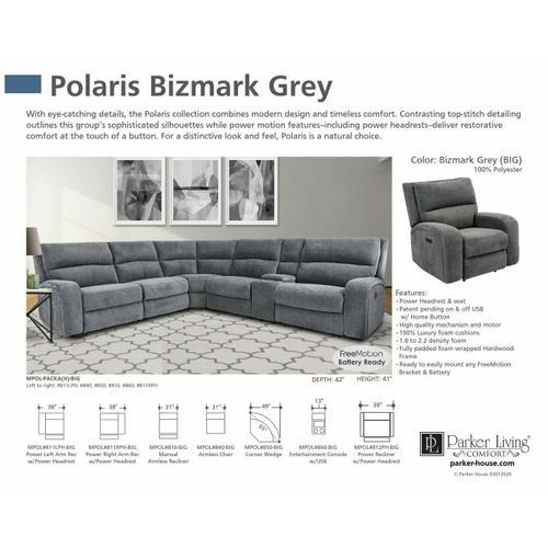POLARIS - BIZMARK GREY Power Left Arm Facing Recliner
