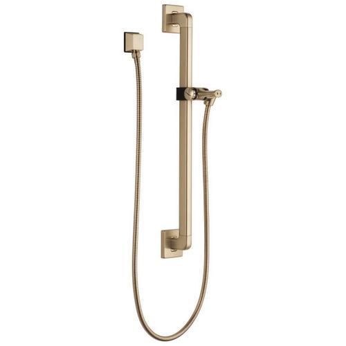 Champagne Bronze Adjustable Slide Bar / Grab Bar Assembly with Elbow
