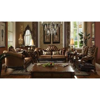 ACME Dresden Sofa w/7 Pillows - 52095 - Golden Brown Velvet & Cherry Oak