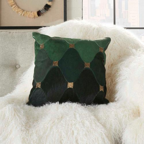 """Natural Leather Hide Pn754 Green/gold 18"""" X 18"""" Throw Pillow"""
