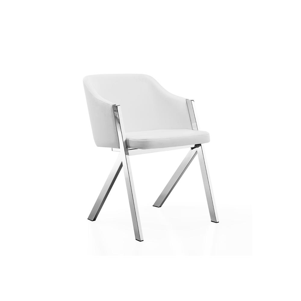 The Acorn Arm White Eco-leather Dining Chairs