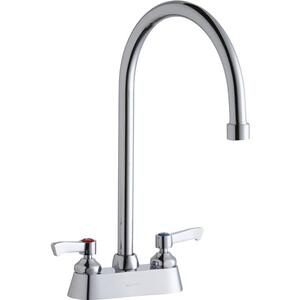"Elkay 4"" Centerset with Exposed Deck Faucet with 8"" Gooseneck Spout 2"" Lever Handles Chrome Product Image"
