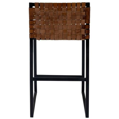 Beautifully constructed with a black iron base, high quality leather and metal nail head accents contribute to the rustic charm of this counter stool.