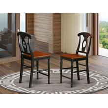 Kenley Counter Height Stools With Wood Seat In Black and Cherry Finish