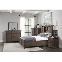 Madison County 4 PC King Barn Door Bedroom: Bed, Dresser, Mirror, Nightstand - Barnwood