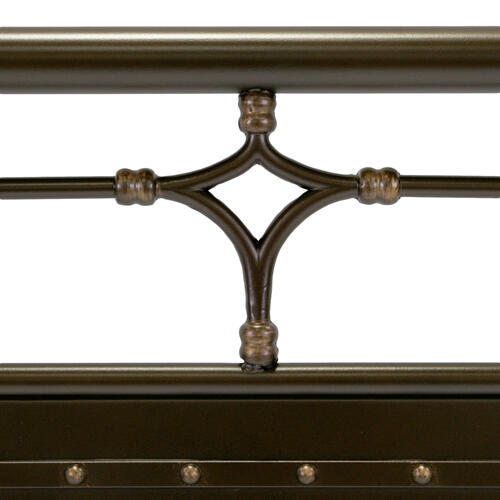 Fashion Bed Group - Westchester Metal Headboard and Footboard Bed Panels with Vintage-Inspired Design and Nailhead Detail, Blackened Copper Finish, King