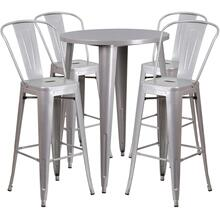 30'' Round Silver Metal Indoor-Outdoor Bar Table Set with 4 Cafe Stools