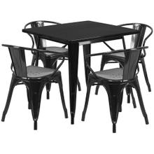 31.5'' Square Black Metal Indoor-Outdoor Table Set with 4 Arm Chairs
