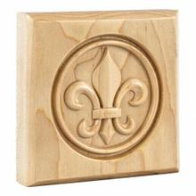"4"" x 4"" x 7/8"" Fleur-de-Lis Rosette Species: Rubberwood"