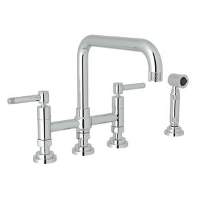 Campo Deck Mount U-Spout 3 Leg Bridge Faucet with Sidespray - Polished Chrome with Industrial Metal Lever Handle