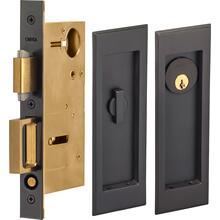 Pocket Door Lock with Traditional Rectangular Trim featuring Turnpiece and Keyed Entry in (US10B Black, Oil-Rubbed, Lacquered)