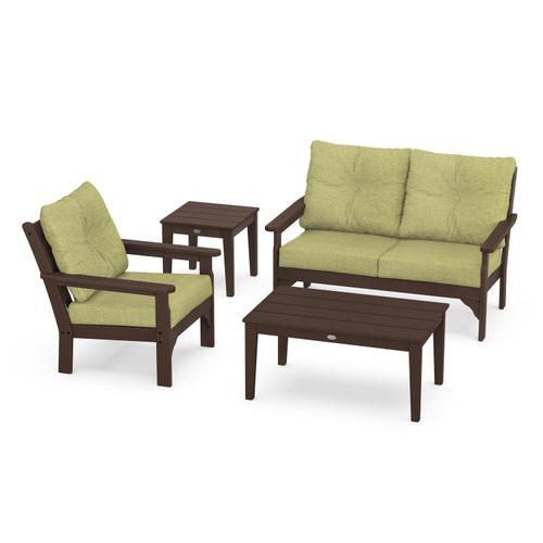 Vineyard 4-Piece Deep Seating Set in Mahogany / Chartreuse Boucle