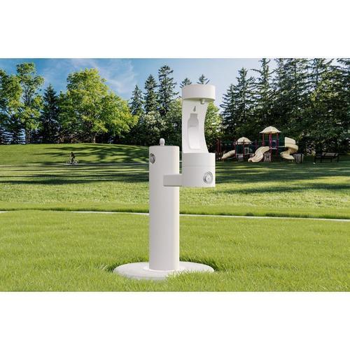 Elkay - Elkay Outdoor EZH2O Bottle Filling Station Bi-Level Pedestal, Non-Filtered Non-Refrigerated White