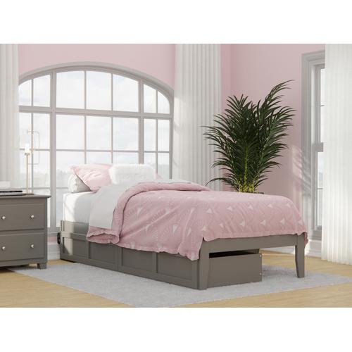 Colorado Twin Extra Long Bed with USB Turbo Charger and 2 Extra Long Drawers in Grey