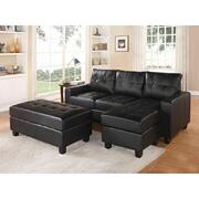 ACME Lyssa Sectional Sofa w/Ottoman - 51215 - Black Bonded Leather Match Product Image