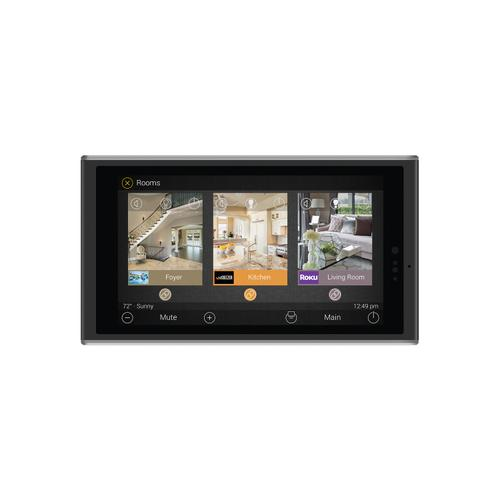 Universal Remote Control - 5-inch In-wall Touch Screen, Black + Diamond-polished Aluminum accents