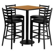 See Details - 30'' Square Natural Laminate Table Set with 4 Ladder Back Metal Barstools - Black Vinyl Seat