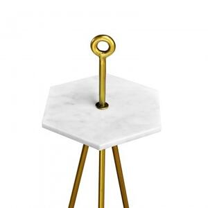 Manhattan Cocktail Table/White Marble+Iron/Antique Brass Finish/11*12*30