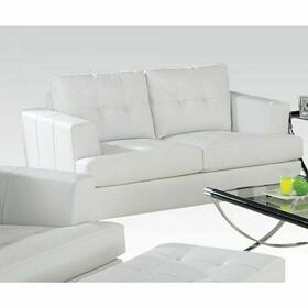 ACME Platinum Loveseat - 15096B - White Bonded Leather