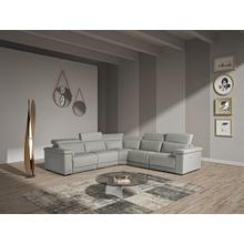 View Product - Estro Salotti Palinuro - Modern Grey Leather Sectional Sofa