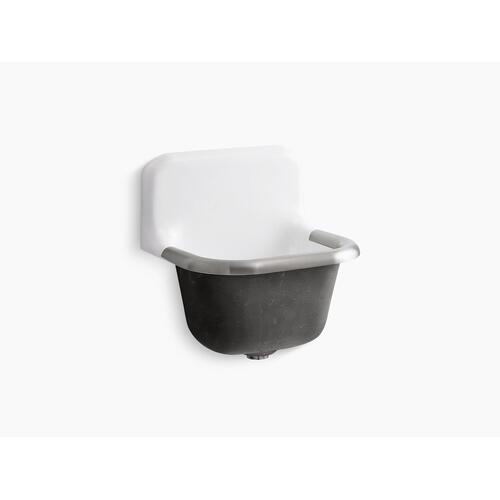 "White 22-1/4"" X 18-1/4"" Wall-mounted or P-trap Mounted Service Sink With Rim Guard and Blank Back"