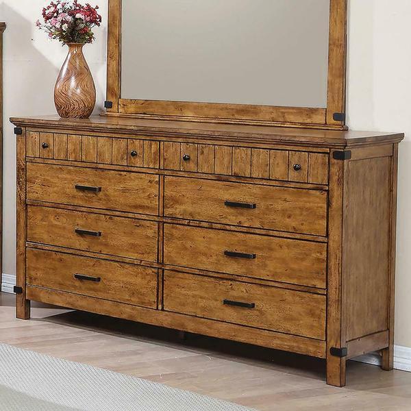 See Details - Brenner Rustic Honey Eight-drawer Dresser