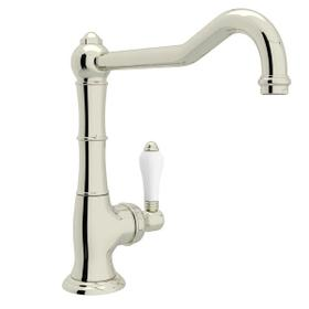Cinquanta Single Hole Column Spout Kitchen Faucet with Extended Spout - Polished Nickel with White Porcelain Lever Handle