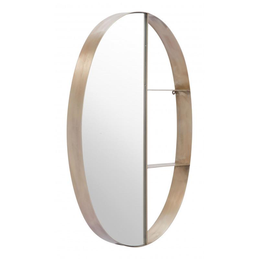 See Details - Latitude Oval Shelf Mirror Antique Bronze
