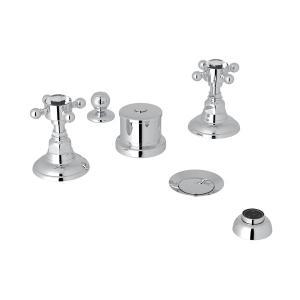 Polished Chrome Italian Bath Five Hole Bidet Faucet with Crystal Cross Handle Product Image