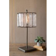 See Details - glass chimes and raw metal table lamp