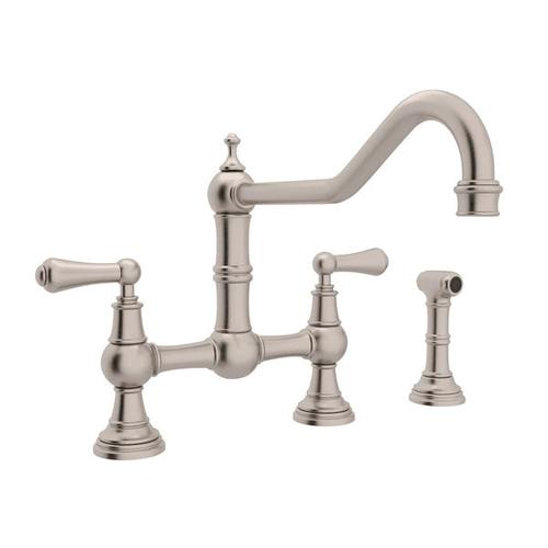Edwardian Bridge Kitchen Faucet with Sidespray - Satin Nickel with Metal Lever Handle