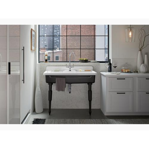 "White 45"" X 25"" X 9"" Top-mount/wall-mount Kitchen Sink With Single Faucet Hole, Black Underside"