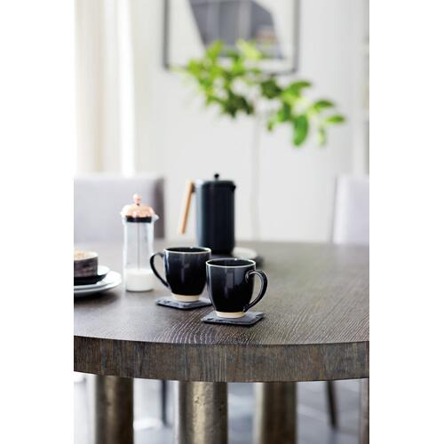 Linea Round Dining Table in Cerused Charcoal (384), Textured Graphite Metal (384)