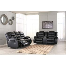 Vacherie Reclining Sofa & Console Loveseat Black