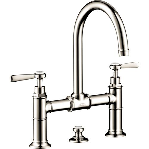 AXOR - Polished Nickel 2-Handle Faucet 220 with Lever Handles and Pop-Up Drain, 1.2 GPM