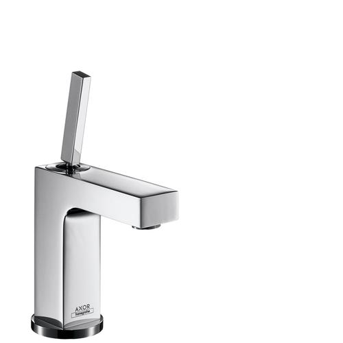 Brushed Nickel Single lever basin mixer 110 with pin handle and pop-up waste set