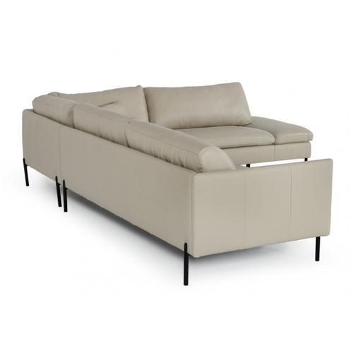 VIG Furniture - Divani Casa Sherry - Modern Grey Leather Right Facing Sectional Sofa