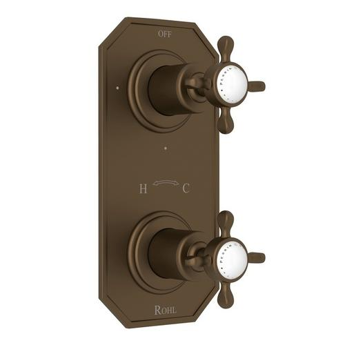 "English Bronze Perrin & Rowe Edwardian 1/2"" Thermostatic/Diverter Control Trim with Edwardian Cross Handle"