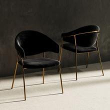 View Product - Modrest Trevor Modern Black Velvet & Gold Dining Chair (Set of 2)