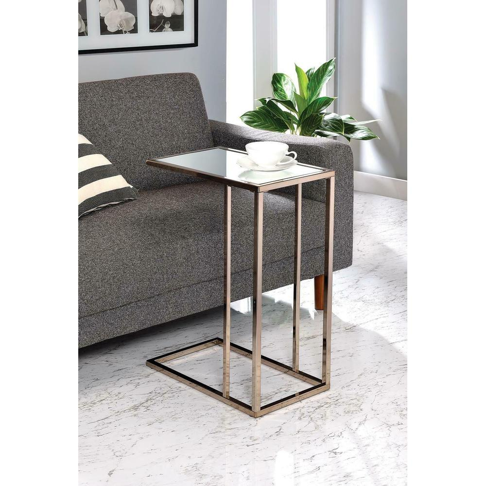 Contemporary Chocolate Chrome and White Snack Table