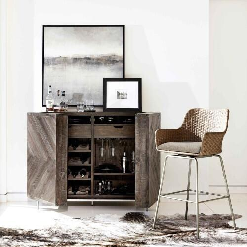 Bernhardt - Parkside Bar Cabinet in Sable Brown
