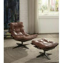ACME Gandy 2Pc Pack Chair & Ottoman - 59530 - Retro Brown Top Grain Leather
