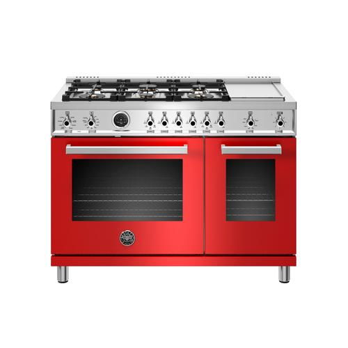 Product Image - 48 inch Dual Fuel Range, 6 Brass Burners and Griddle , Electric Self Clean Oven Rosso