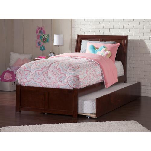 Atlantic Furniture - Portland Twin Flat Panel Foot Board with Urban Trundle Walnut